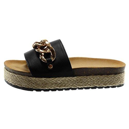 10c4eefe8b1e ... Angkorly Chaussures Mode Mules Sandales Slip-on Wedges Femme Chaîne  Doro Rope Wedge Talon Plateforme ...