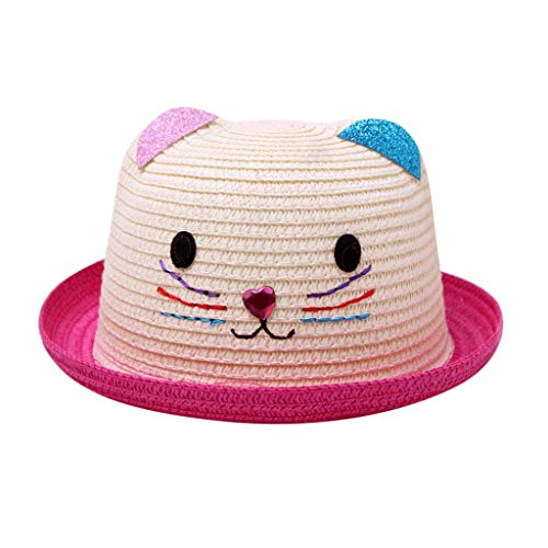 YUAN Kids Hat Summer Baby Cartoon Kinder Breathable Hut Strohhut Kinder Katze Hut Mütze