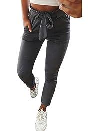 OHQ Damen Hosen Elegant High Waist Stretch Chiffon Skinny Hosen Pants  Casual Streetwear Hosen mit… 8722e46bcf
