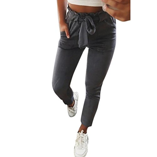 OHQ Damen Hosen Elegant High Waist Stretch Chiffon Skinny Hosen Pants Casual Streetwear Hosen mit Tunnelzug (Grau, S)