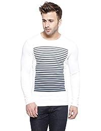 New Trendy Gespo Men'S White Printed Regular Fit Round Neck Long Sleeves T Shirt