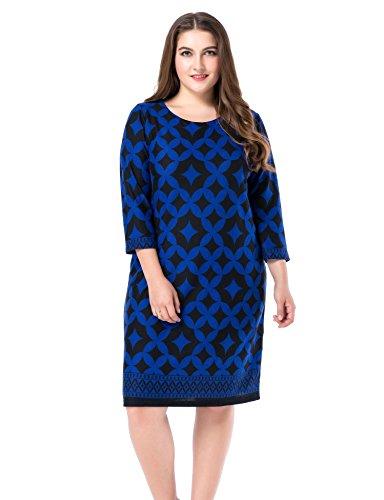 Chicwe Damen Kleid Große Größen Cashmere Touch Bedruckt 48, Blau (Stretch-bootcut Ziehen)