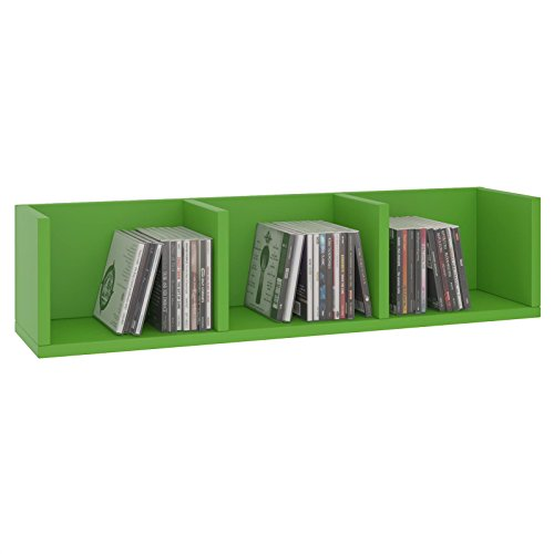 CARO-Möbel CD DVD Regal Stars Wandregal Hängeregal mit 3 Ablagefächern in grün, Dekorationsregal (Regal Möbel)