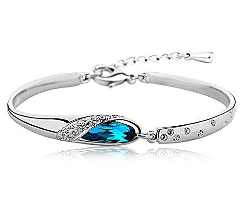 Karatcart Platinum Plated Blue Crystal Kadaa Bracelet For Girls