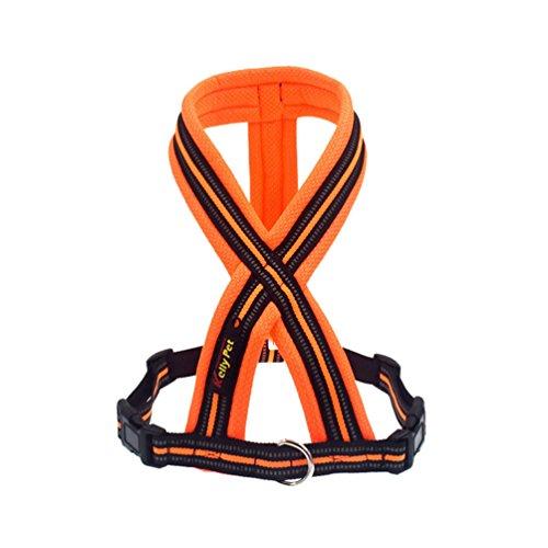 Yuncai Haustier Hund Reflektierend Atmungsaktiv Gemütlich X6 Brustgurt Geschirr Leine Orange1 S