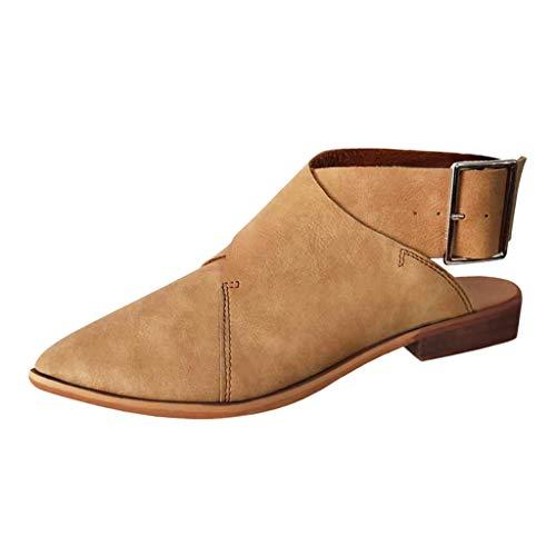 Produp Damen Damen Sommer Spitz Schnalle Strap Knöchel Vintage Sandalen Römische Schuhe Nationalen Stil Strass Flache Schuhe Strand Schuhe ()