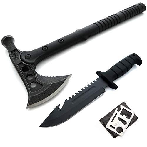 40cm Black Tactical Kommando Tomahawk Hammer Typ M-48 Hawk SWAT - FBI - AXT - Beil + 29cm Bowie Messer - Seilcutter - Sägezahnrücken - Jagd - Survival - Outdoor - Angel + 12in1 Survival-Card