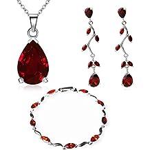 64b73cb8e246 Lágrimas Juego de joyas con Rojo Cristales austríacos de Zirconia Collar 45  cm Pendientes Pulsera 18k