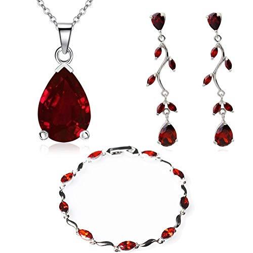 Lacrima purare con rosso cristalli austriaci di zirconi collana 45 cm orecchini pendenti bracciale 18 kt placcato oro bianco