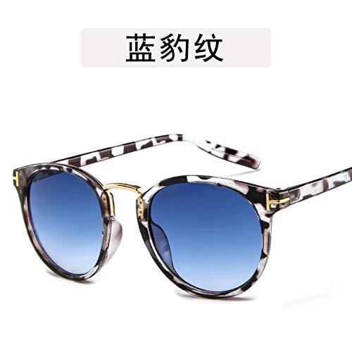 WDDYYBF Sonnenbrillen, Lässige Mode Klassischen Komfort Sonnenbrille Frauen Fahren Frauen Reflektierende Spiegel Vintage Flache Linse Weiblichen Uv400 Leopard Frame Marine, Blaue Linse