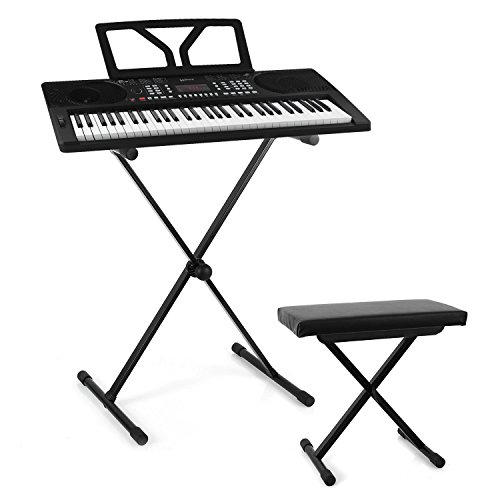 Schubert Etude 300 • Keyboard-Set • inklusive Malone Dimantale LTS4-ST-7-DKS Keyboard X-Ständer • 61 anschlagdynamische Tasten • LED-Display • Möglichkeit zum Netz- und Batteriebetrieb • schwarz