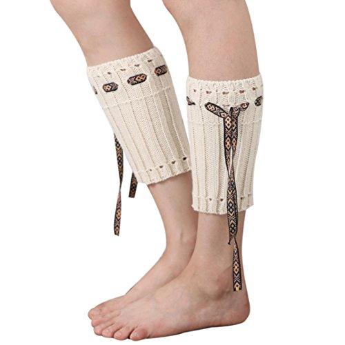 WOCACHI Damen Stulpen Winter Frauen Böhmen kurzer Punkt Beinlinge Socken Stiefel Abdeckung (Trachten Stiefel Männer's Grün)