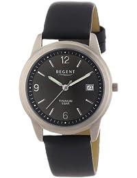 Regent Herren-Armbanduhr XL Analog Quarz Leder 11190096