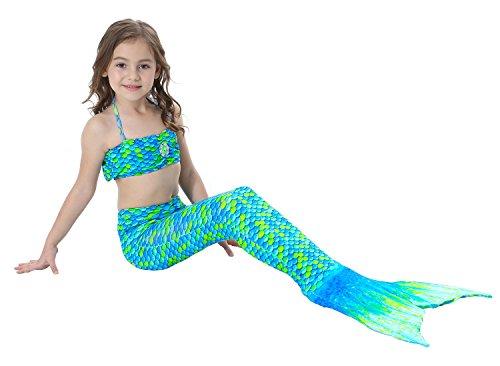 FaschingStore Mädchen Badeanzug Meerjungfrau-Schwanz 3tlg. Bademode Bikini Set Kleinkind Bade Kostüm Grün 150 (Schwimmen Kleinkind-t-shirt)