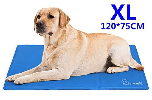 Pecute Kühlmatte Hunde Katzen Kuhlmatte Für Hunde und Katzen Kühlkissen Kühl Hundedecke Kaltgelpad für Katzen und Hunde Selbstkühlende Matte Blau XL (120 * 75 cm)