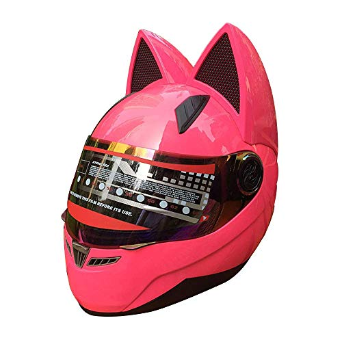 YGFS Casco Moto Adulto da Donna Four Seasons Universale Staccabile Orecchie da Gatto Casco Integrale per Fuoristrada (Rosa)