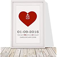 Valentines Day Or Wedding Anniversary Present For Couples | Personalised Heart Design With Love Birds Framed Print With Mount | White