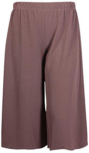 Damen Shorts Mini Culottes Hose - Übergrössen - EU 52 / 54, Mokka (Culotte Damen Shorts)