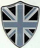 3D Doming Aufkleber Wappen Union Jack schwarz-grau (2er Set)
