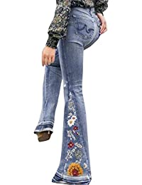 Ladies Hip Jeans Trousers Bootcut Flare Flarecut Flares Marlene Frayed