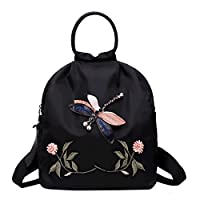 LA HAUTE Embroidered Flowers Backpack Casual Daypack Oxford School Bags Travel Shoulder Bags with Headphone Jack