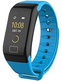 QUICKLYLY Pulsera Actividad,Pulsera Inteligente para Mujer Hombre Reloj Fitness Monitor de Sueño y Calorías, Podómetro, Despertador, Cámara control,Bluetooth Compatible con IOS y Android (Azul)