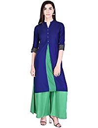 TWIN FEET Cotton Solid V-Neck Straight 3/4th Sleeve Blue-Green Women's Casual&Party Wear Kurti With Palazzo (Pack...