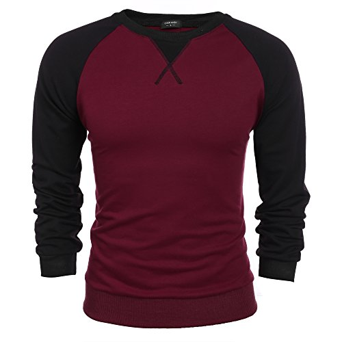 Coofandy Herren Langarmshirt Sweatshirt Freizeit Sport Pullover Loose Fit Knotrastfarben mit 2-Tone Raglan (Tone-raglan-t-shirt)