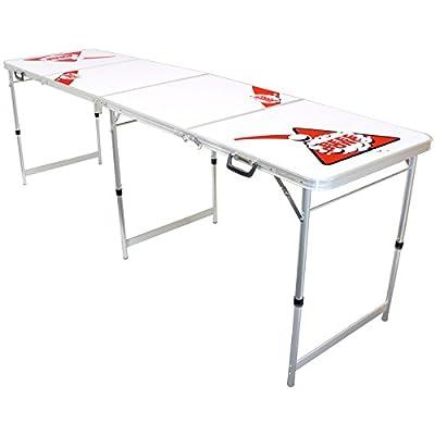 Hartleys Table pliante de bière pong en aluminium à 4 sections avec surface facile à nettoyer 183 cm