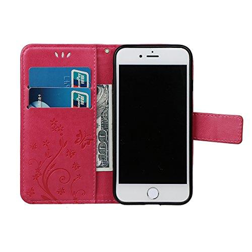 """Hülle für iPhone 7/8, xhorizon Blumenschmetterling magnetische umklappbare Brieftasche Schutzhülle mit Standfunktion und Kartensteckplätzen aus geprägtem PU-Leder für iPhone 7 / iPhone 8[4.7""""] Rose"""