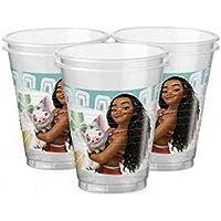 CAPRILO Lote de 24 Vasos de Plástico Infantiles Decorativos Vaiana. Vajillas y Cuberterías Desechables.
