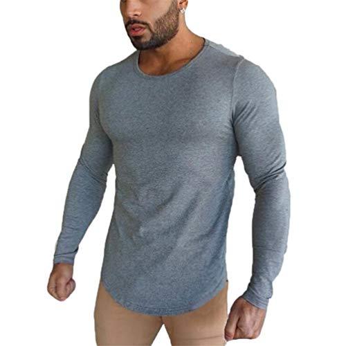 Glücklich Crewneck Sweatshirt (Glücklicher Käufer Herren Sport Modern Sweatshirt Mens Langarmshirt Baumwolle Fitness Training Crewneck Hemd (Grau, M))