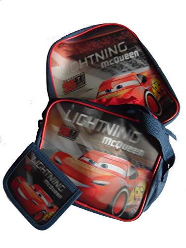 Kinder Tasche Rucksack Geldbeutel 3er Set Disney Cars 3er Set mit 3D Motiv Disney Lightning McQueen - vom deutschen Lizenznehmer (Lightning Mcqueen 3d)