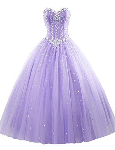 Erosebridal Trägerlos Lang Abendkleider Tüll Ballkleid Kristall Lavendel DE38
