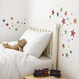 Childrens Bright Star Wall Stickers, 61 Star Stickers