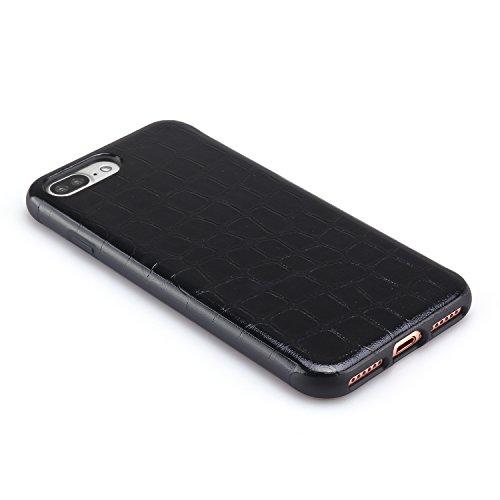 TENDLIN iPhone 8 Plus Hülle Krokodilleder Flexiblem TPU Silikon Hybrid Schutzhülle für iPhone 7 Plus und iPhone 8 Plus Dunkelrot Schwarz