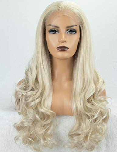Chantiche Lace Wigs - Glueless Platinum Blonde Synthetic Lace Front Wig Long Wavy Wigs for Women Heat Resistant Fiber 22 Inches