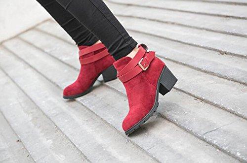 Herbst und Winter hochhackigen Gürtel Stiefel Schnalle kurze Aufladungen Martin-Aufladungen Rot