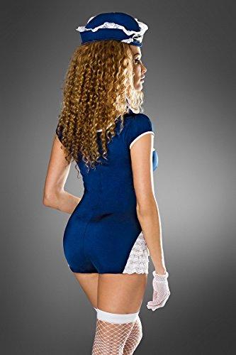 15a210a919ce42 Atixo Retro Stewardess-Kostüm von Saresia roleplay - blau/weiß, Größe  Atixo:XS-M