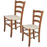 Tommychairs sillas de Design - Set 2 sillas Modelo Venice para Cocina, Comedor, Bar y Restaurante, con Estructura en Madera Color Cerezo y Asiento tapizado en Tejido Color Marfil