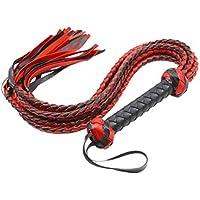 FENICAL Látigo atractivo Juguete látigo de cuero tejido a mano Juguete erótico Lash Bondage Sexual (Rojo)