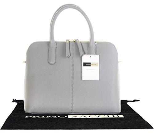 Italienisch strukturiertem Leder Bowling Art Trage Grab-Bag oder Umhängetasche. Enthält eine Schutzaufbewahrungstasche Hellgrau