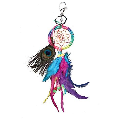 Llavero atrapasueños, hecho a mano con plumas coloridas y encaje, red de atrapasueños, plumas de pavo real, atrapasueños, borla, colgante, llavero, llavero para coches, bolsas, adorno para colgar