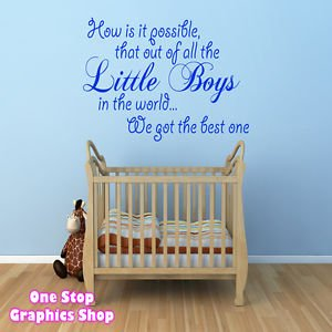 Perfect 1Stop Graphics   Shop Best Little Boy Wall Art Quote Sticker   Baby Kids  Boy Bedroom Part 15