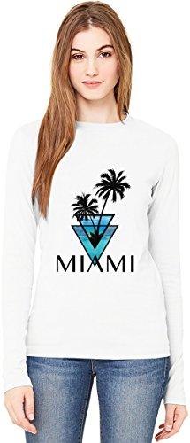 Miami Car Flag (miami triangle palms city ocean Damen Langarm T-Shirt Long-Sleeve T-shirt For Women| 100% Premium Cotton| DTG Printing| XX-Large)