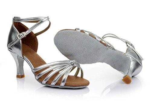 VESI - Damen schuhe Standard/Latein 5cm/7cm Absatz Silber Knoten 37 - 3