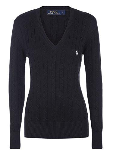 Ralph Lauren Damen V-Neck Pullover Zopfmuster Schwarz (M) (Pullover V-neck Ralph Lauren)