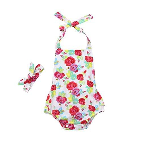 QinMM Infant Baby Strampler Mädchen Blumendruck Rüschen Overall Outfits Sommer Kleidung Niedlichen Outfit Druck Nette Mode Baumwolle Weiß 6M-18M (6M, Weiß)