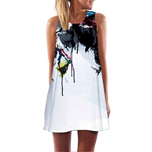 VEMOW Vintage Boho Frauen Sommerkleider Sleeveless Strand Gedruckt Kurzes Minikleid Eine Linie Abendkleid Täglich beiläufige Partei Weste T-Shirt Kleid Plus Size Rock(X1Weiß 5, EU-48/CN-2XL)