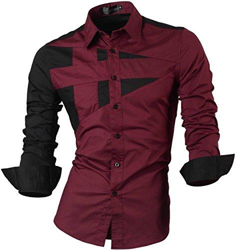jeansian Herren Freizeit Hemden Shirt Tops Mode Langarmshirts Slim Fit 8397 8397_WineRed
